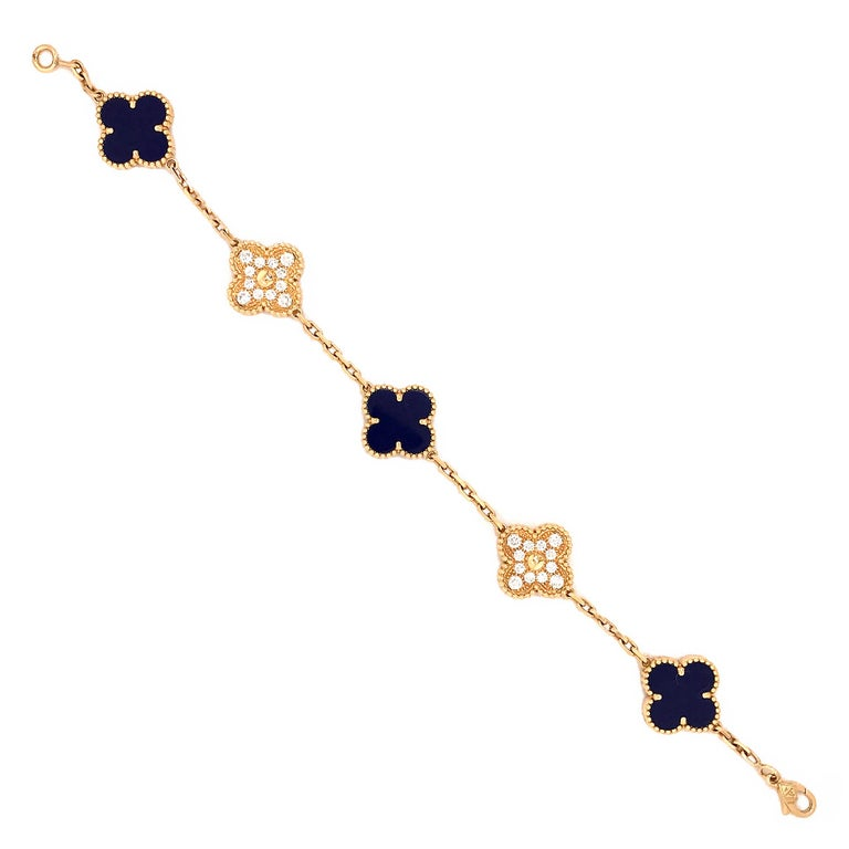 VCA 50th Anniversary Lapis Lazuli and Diamond 5 Motif Vintage Alhambra Bracelet For Sale 1
