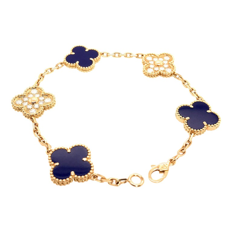 VCA 50th Anniversary Lapis Lazuli and Diamond 5 Motif Vintage Alhambra Bracelet For Sale