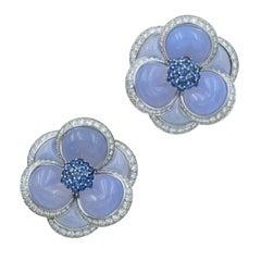VCA Chalcedony, Sapphire and Diamond 'Blue Gardenia' Clip Brooches