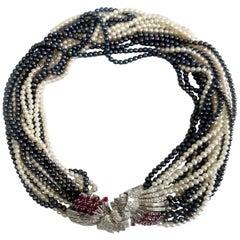 VCA Diamond Ruby Pearl Necklace