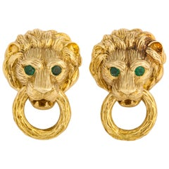 Famous 1960s Van Cleef  & Arpels Lion Door Knocker Gold Earclips