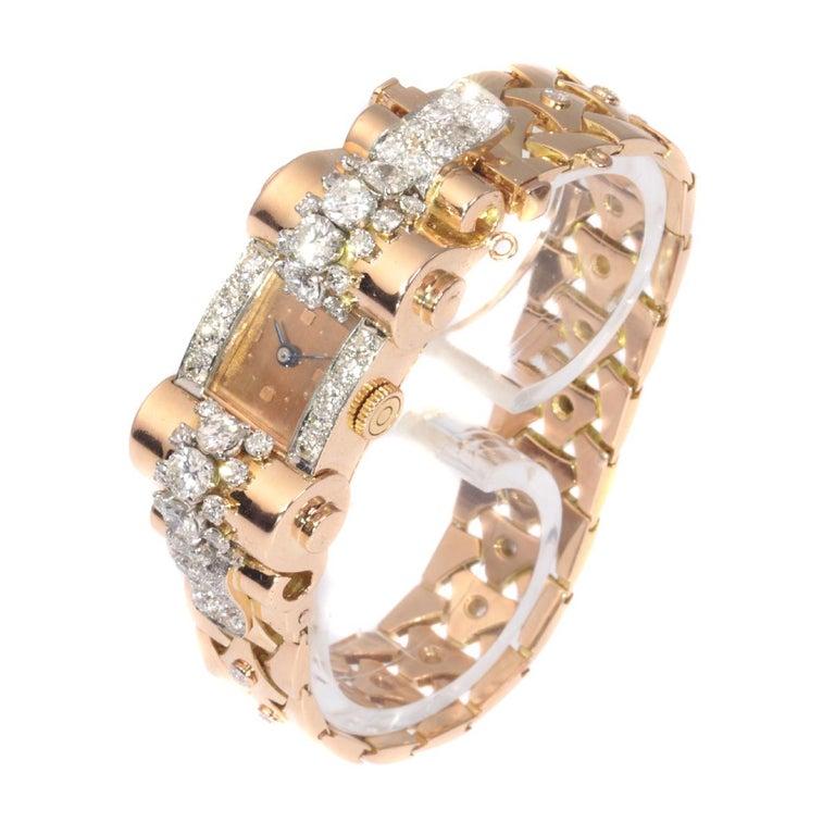 VCA Van Cleef & Arpels Vintage Retro Gold Diamond Pink Gold Ladies Watch In Good Condition For Sale In Antwerp, BE