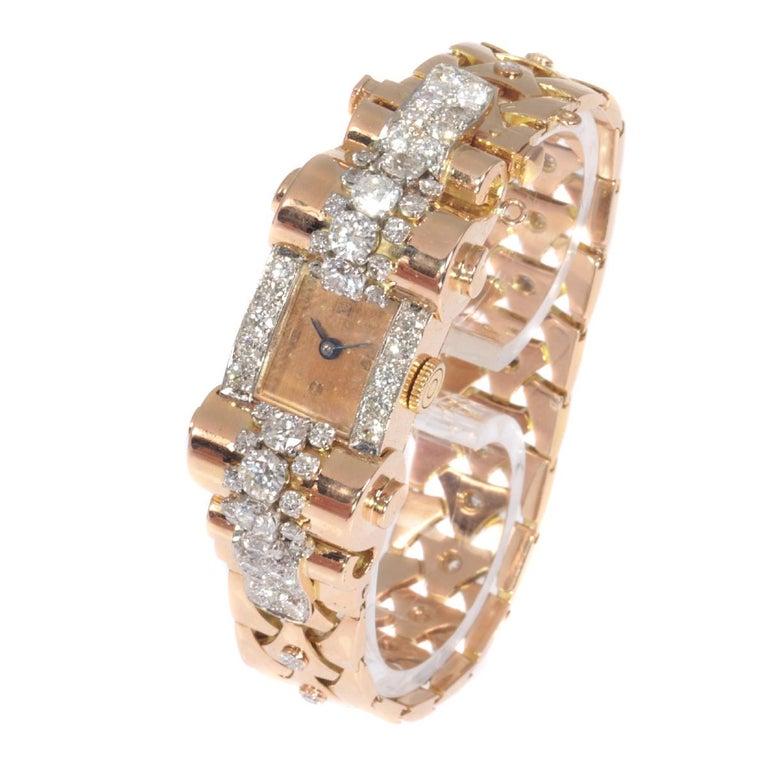 Women's VCA Van Cleef & Arpels Vintage Retro Gold Diamond Pink Gold Ladies Watch For Sale