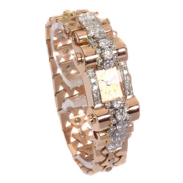 VCA Van Cleef & Arpels Vintage Retro Gold Diamond Pink Gold Ladies Watch For Sale 1