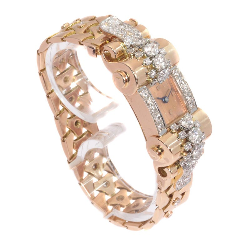 VCA Van Cleef & Arpels Vintage Retro Gold Diamond Pink Gold Ladies Watch For Sale 2