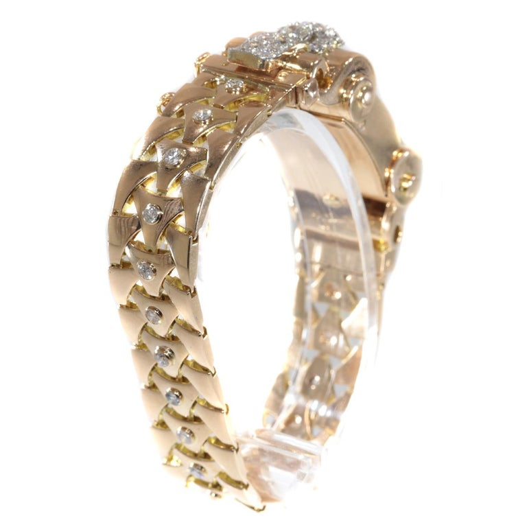 VCA Van Cleef & Arpels Vintage Retro Gold Diamond Pink Gold Ladies Watch For Sale 4