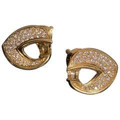 VCA Van Cleef & Arpels Vintage Diamond Leaf Earrings Yellow Gold, French, 1970s