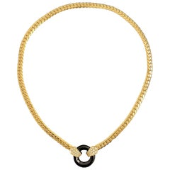 VCA Van Cleef & Arpels Vintage Onyx Diamond Necklace Yellow Gold, French, 1980s