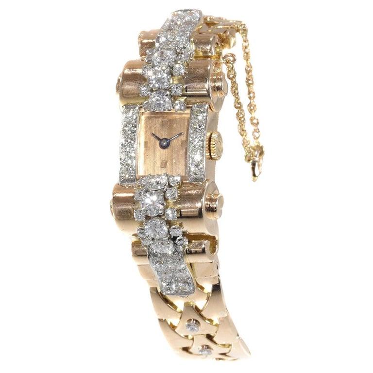 VCA Van Cleef & Arpels Vintage Retro Gold Diamond Pink Gold Ladies Watch For Sale