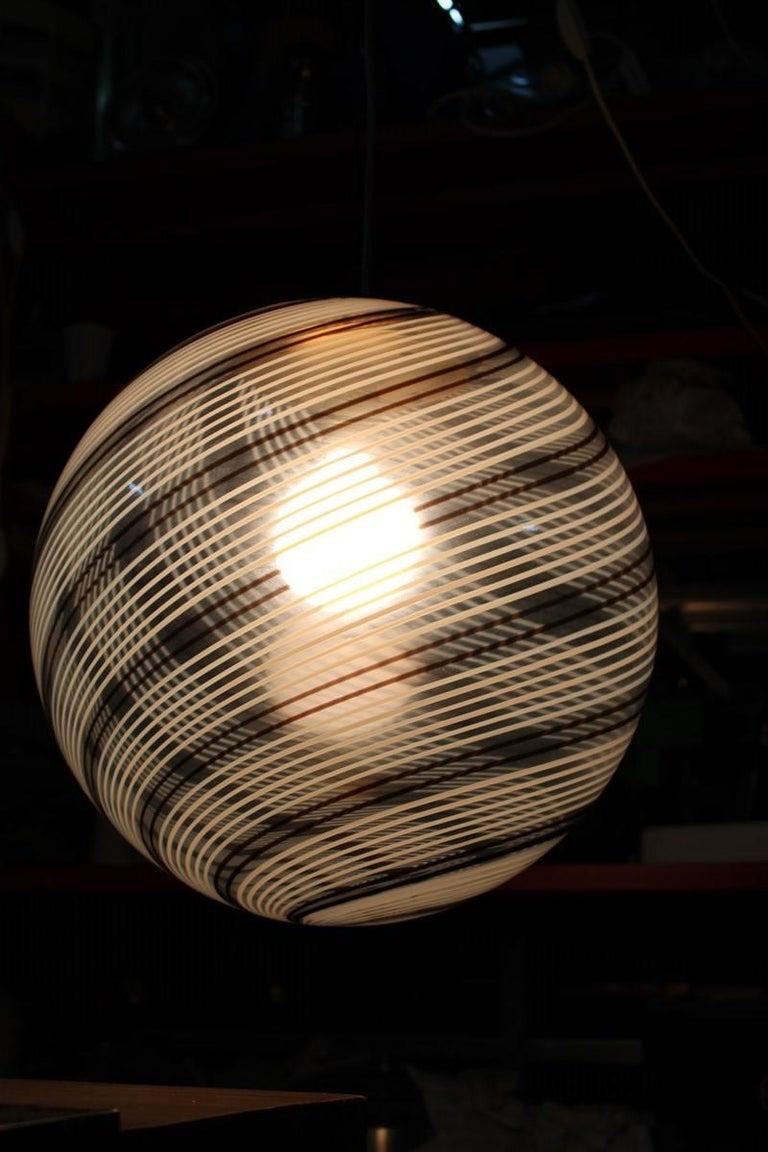 VeArt Ball Chandelier Italian Design 1970s Multicolor Striped Murano Glass  For Sale 4