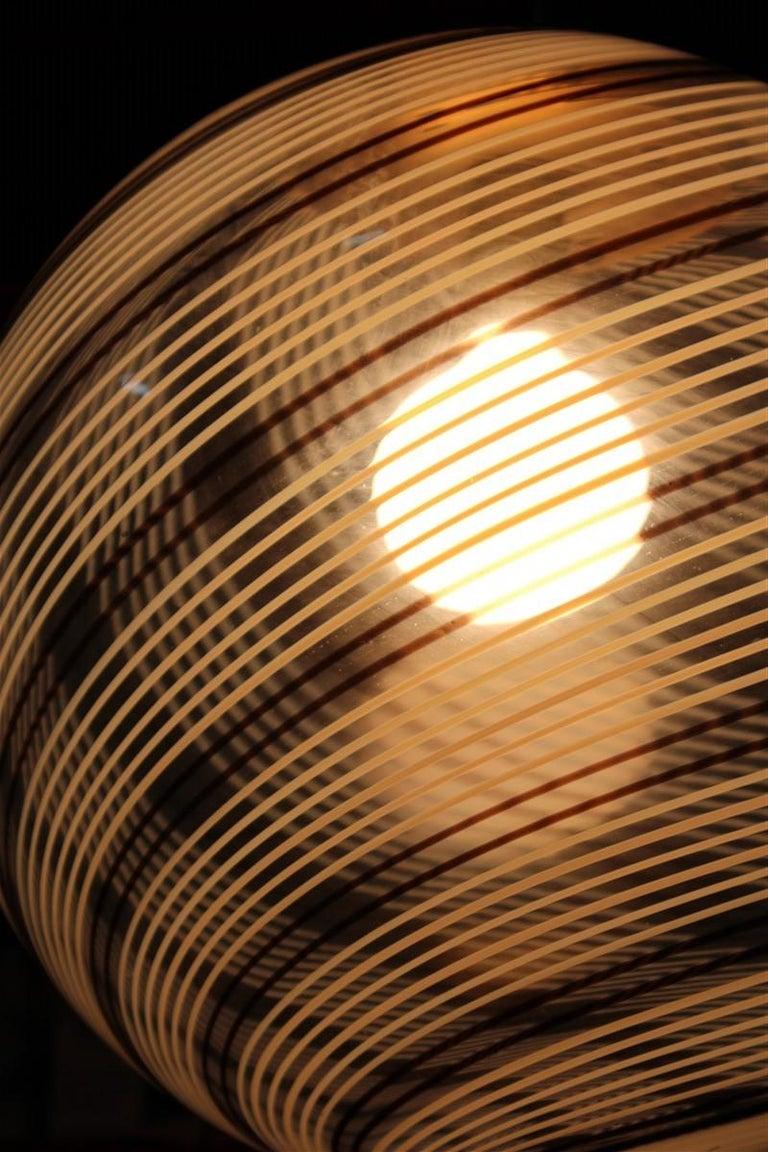 VeArt Ball Chandelier Italian Design 1970s Multicolor Striped Murano Glass  For Sale 5