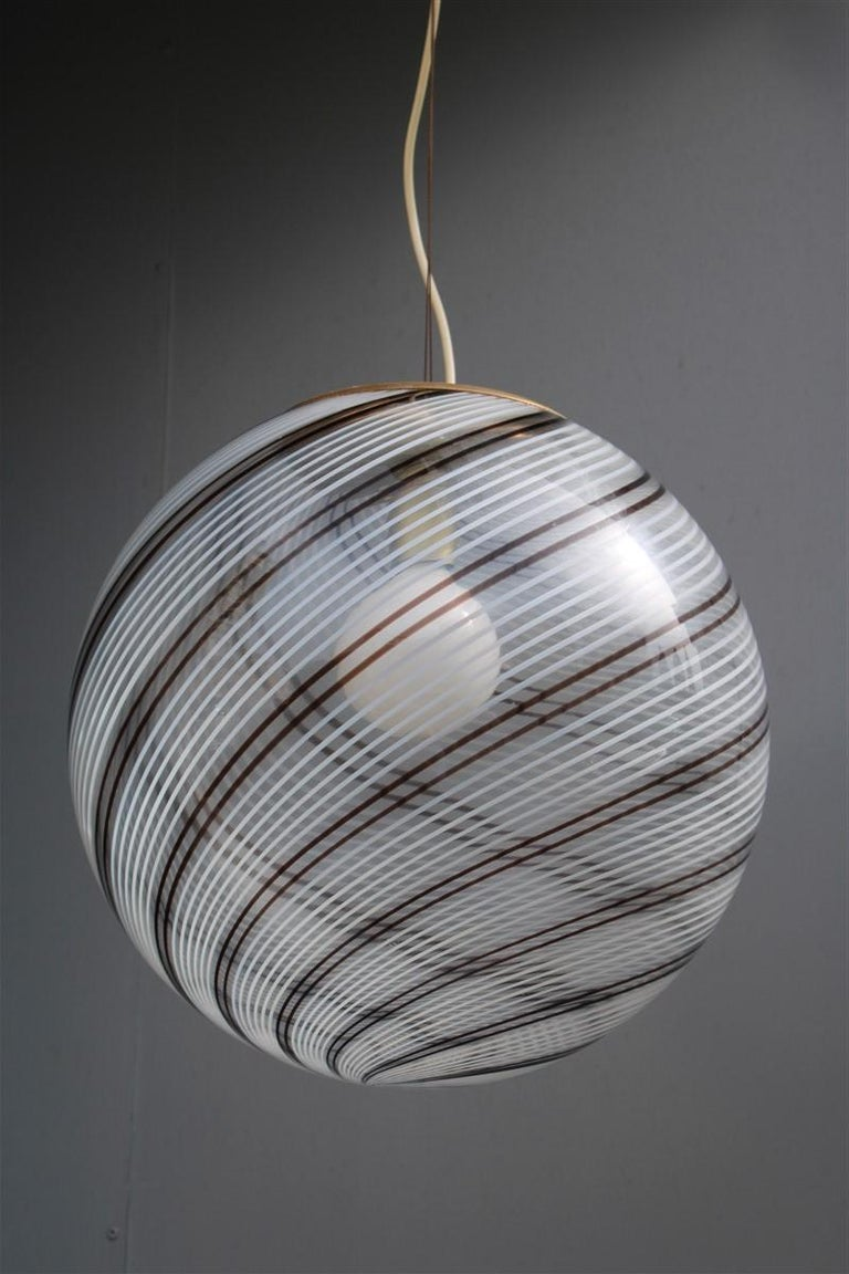 Veart Ball Chandelier Italian Design 1970s Multicolor Striped Murano Glass