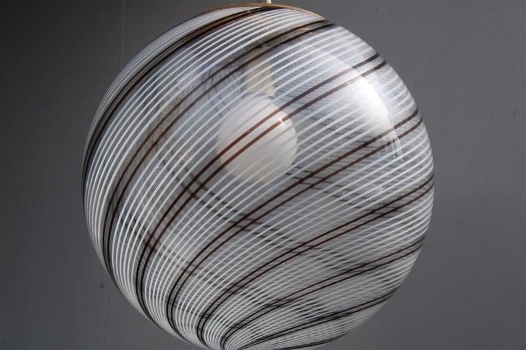 VeArt Ball Chandelier Italian Design 1970s Multicolor Striped Murano Glass  In Good Condition For Sale In Palermo, Sicily