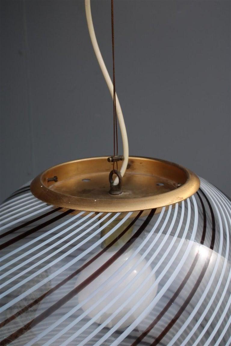 VeArt Ball Chandelier Italian Design 1970s Multicolor Striped Murano Glass  For Sale 1