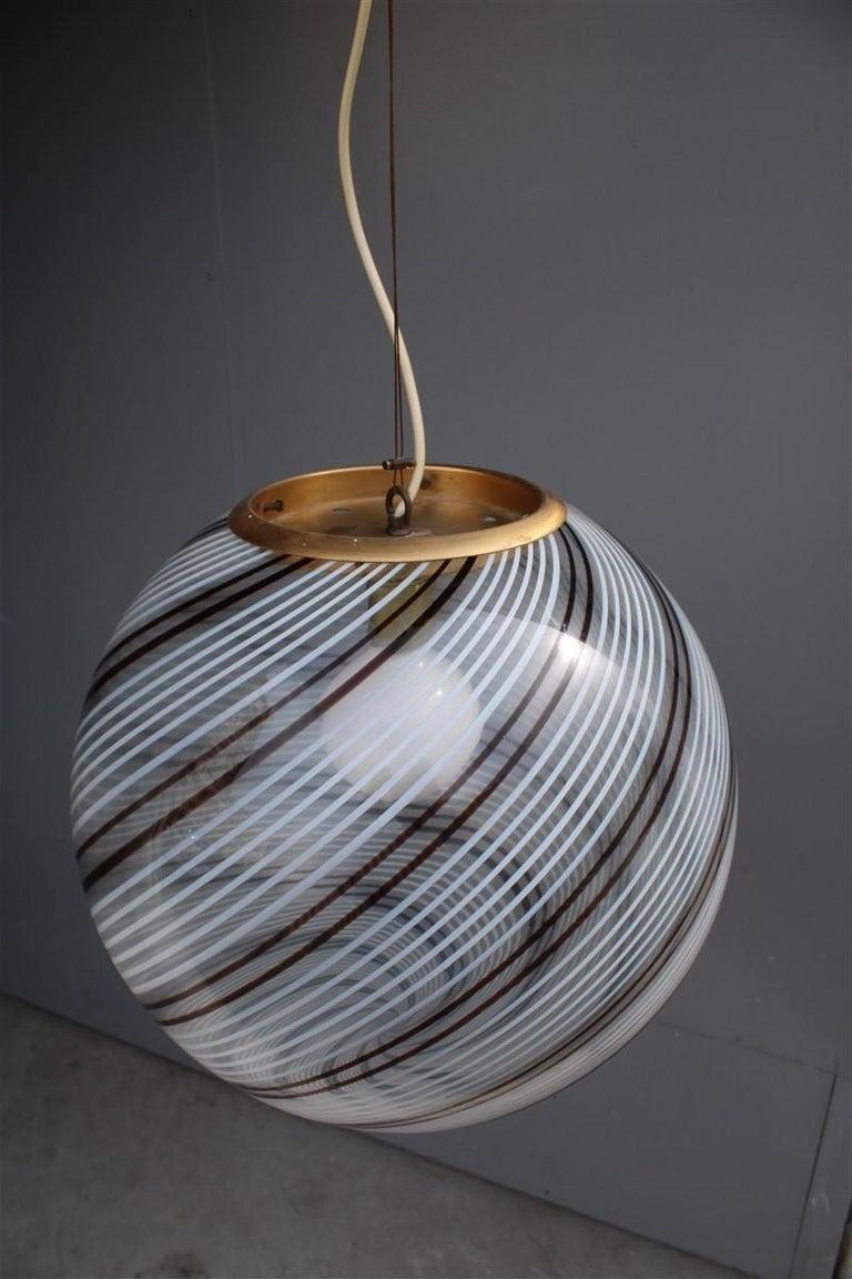 VeArt Ball Chandelier Italian Design 1970s Multicolor Striped Murano Glass  For Sale 2