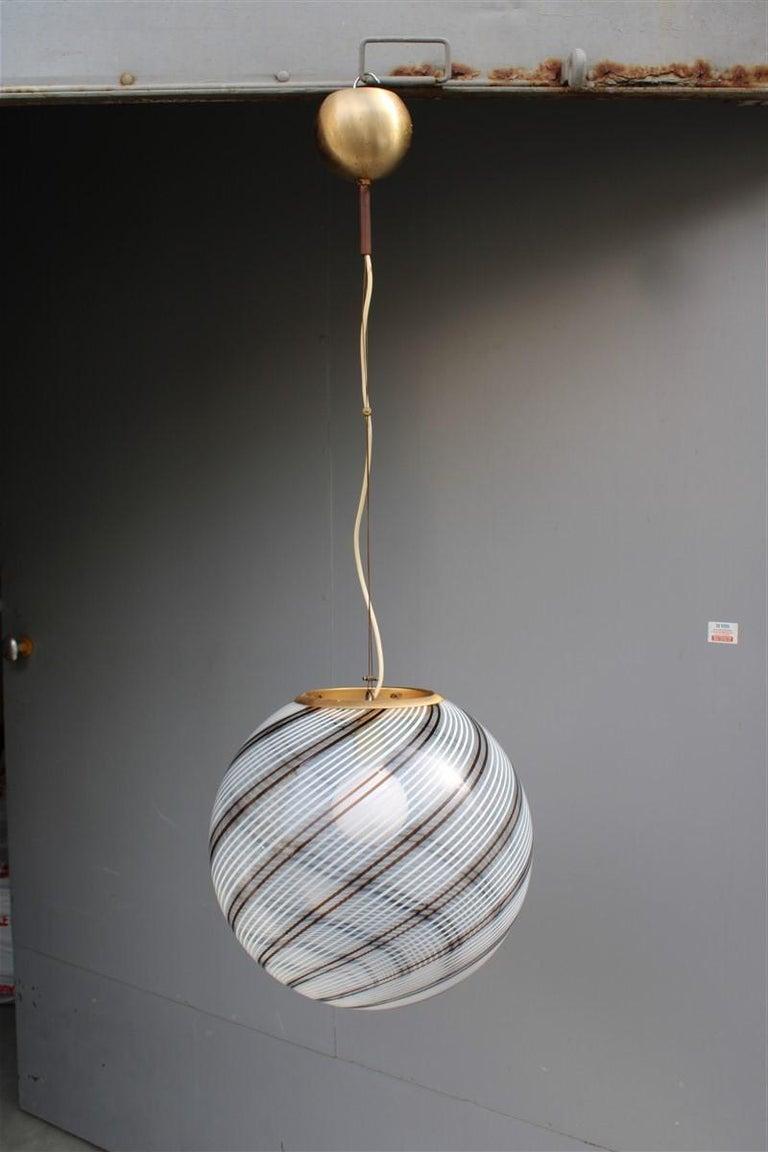 VeArt Ball Chandelier Italian Design 1970s Multicolor Striped Murano Glass  For Sale 3
