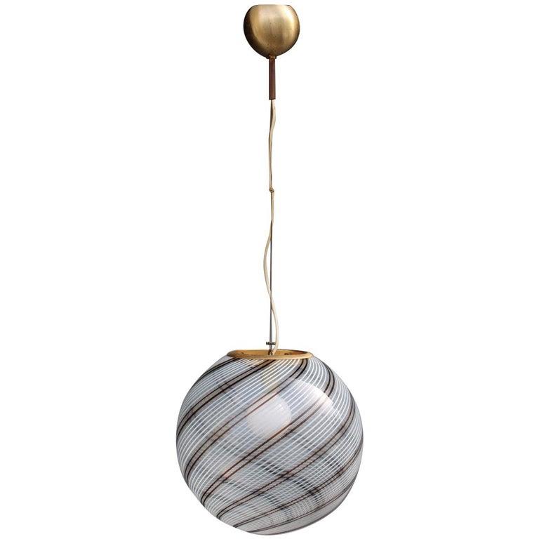 VeArt Ball Chandelier Italian Design 1970s Multicolor Striped Murano Glass  For Sale