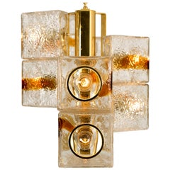 VeArt Cube Murano Modern Space Age Glass Chandelier, Italy, 1970