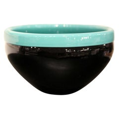 VeArt Murano Minimal Glass Black and Turquoise Bowl