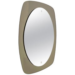 Veca Midcentury Italian Oval Wall Mirror with Bronzed Glass Frame, 1970s