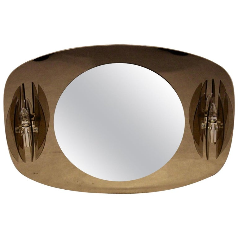 Veca Two-Toned Italian Glass Mirror Complete with Glass Sconces For Sale