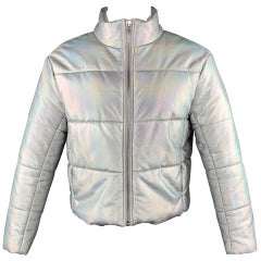 VEDA Size L Silver Iridescent Polyeurethane Jacket