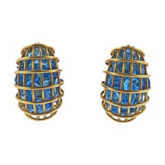 Vedra Caged Blue Topaz Gold Earrings