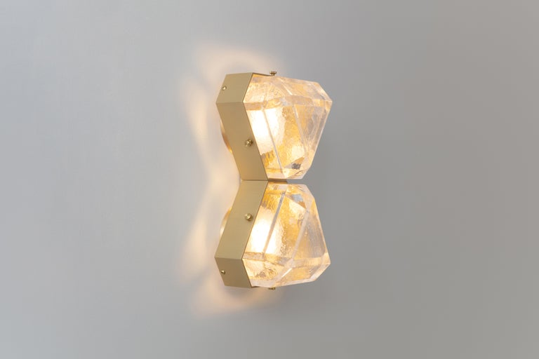 Modern Vega Due Wall Sconce / Ceiling Mount in Cast Glass by Matthew Fairbank For Sale