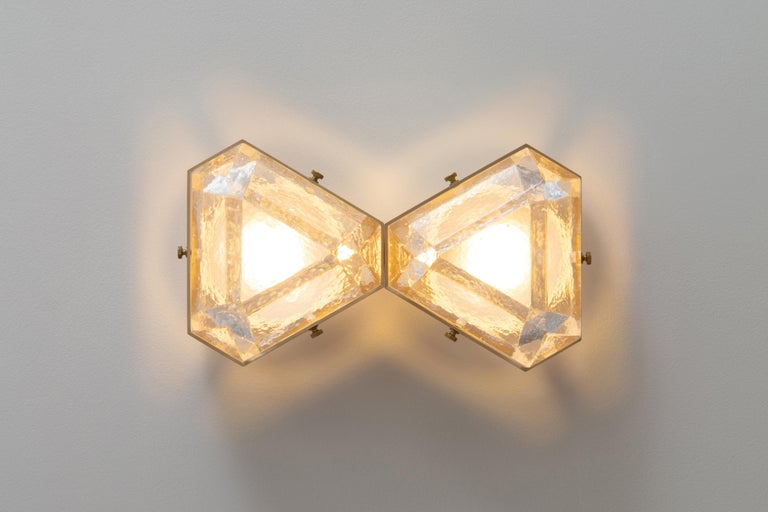 Anodized Vega Due Wall Sconce / Ceiling Mount in Cast Glass by Matthew Fairbank For Sale