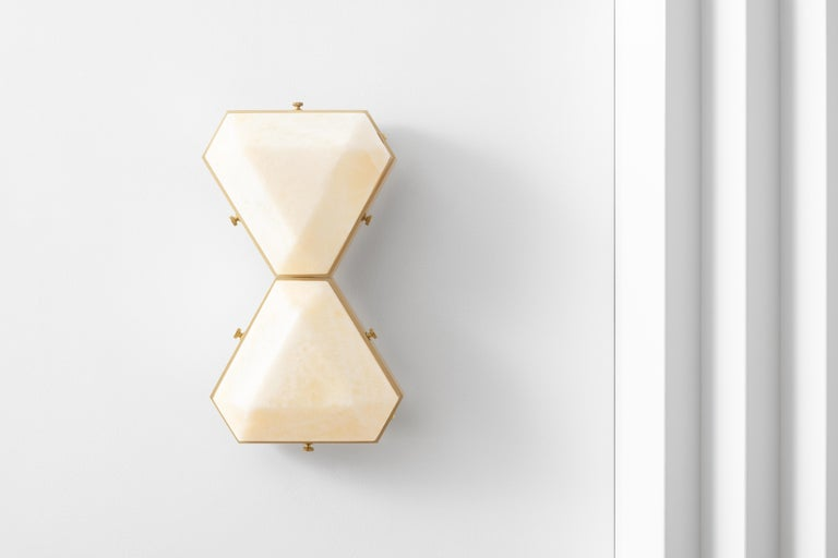 Vega Due Wall Sconce / Ceiling Mount in White Onyx by Matthew Fairbank For Sale 2