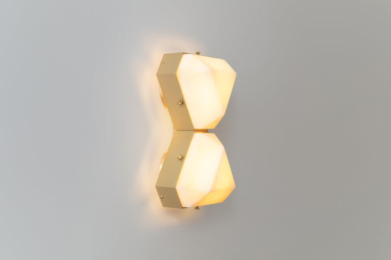 Modern Vega Due Wall Sconce / Ceiling Mount in White Onyx by Matthew Fairbank For Sale