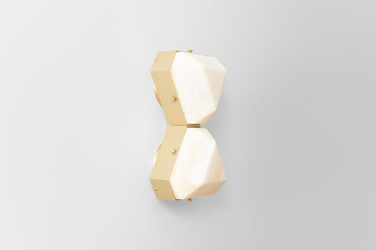 American Vega Due Wall Sconce / Ceiling Mount in White Onyx by Matthew Fairbank For Sale