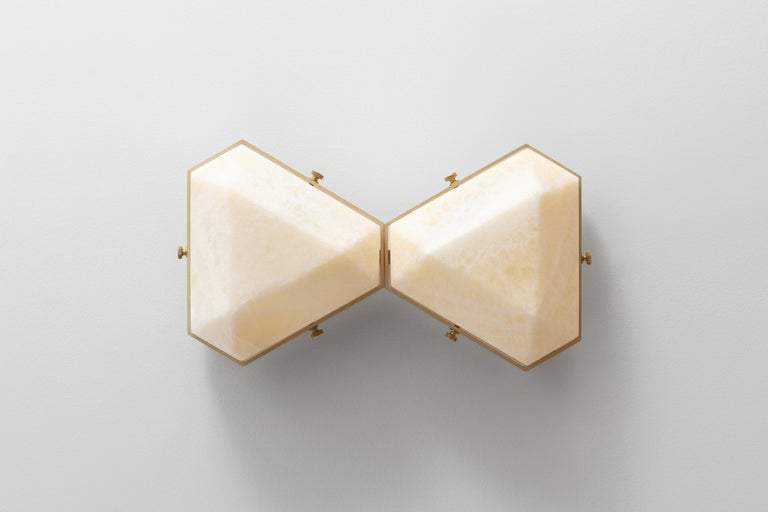 Vega Due Wall Sconce / Ceiling Mount in White Onyx by Matthew Fairbank In Excellent Condition For Sale In Brooklyn, NY