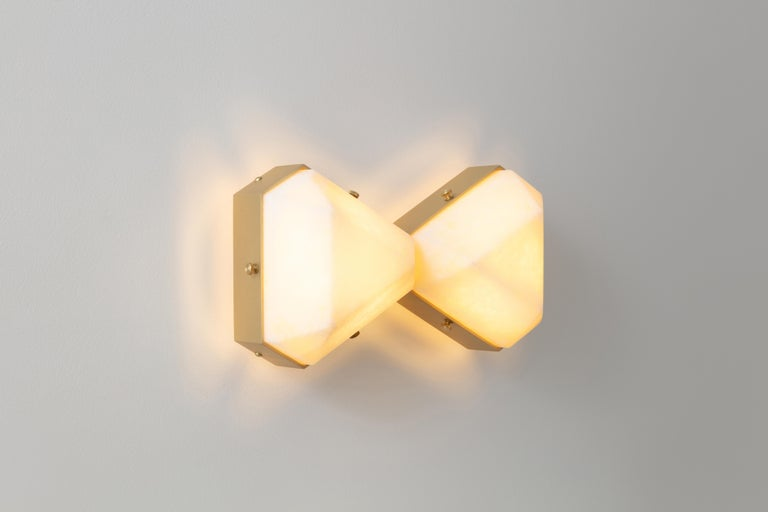 Contemporary Vega Due Wall Sconce / Ceiling Mount in White Onyx by Matthew Fairbank For Sale