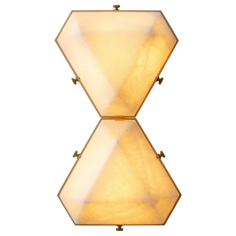 Vega Due Wall Sconce / Ceiling Mount in White Onyx by Matthew Fairbank For Sale