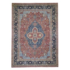 Vegetable Dyes Antiqued Kashan Pure Wool Hand Knotted Oriental Rug