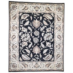 Vegetable Dyes Peshawar Black Pure Wool Hand Knotted Oriental Rug