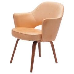 Vintage Leather Eero Saarinen, Knoll Conference Armchair with Wooden Legs