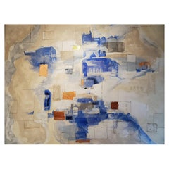 """""""Veiled Paths"""", Abstract Architecture Mixed-Media Painting, Blue, White, Bronze"""