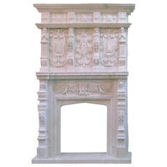 Veined Carved Marble Mantel Piece