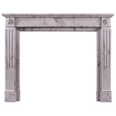 Veined Statuary Louis XVI Style Marble Fireplace