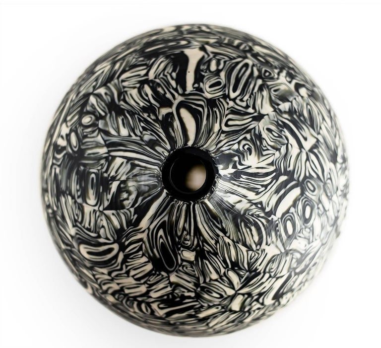 American Velato Strata Murrine Bronze Ivory Low Round Vase, Handblown Glass - In Stock For Sale