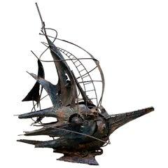 """""""Veliero Futurista"""", Copper Sculpture Signed A. Di Giovanni, Italy, 1950s"""
