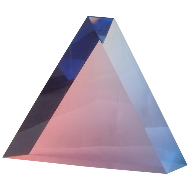 """Velizar Mihich, """"Vasa"""" Acrylic Decorative Triangle, Sculpture, Signed For Sale"""
