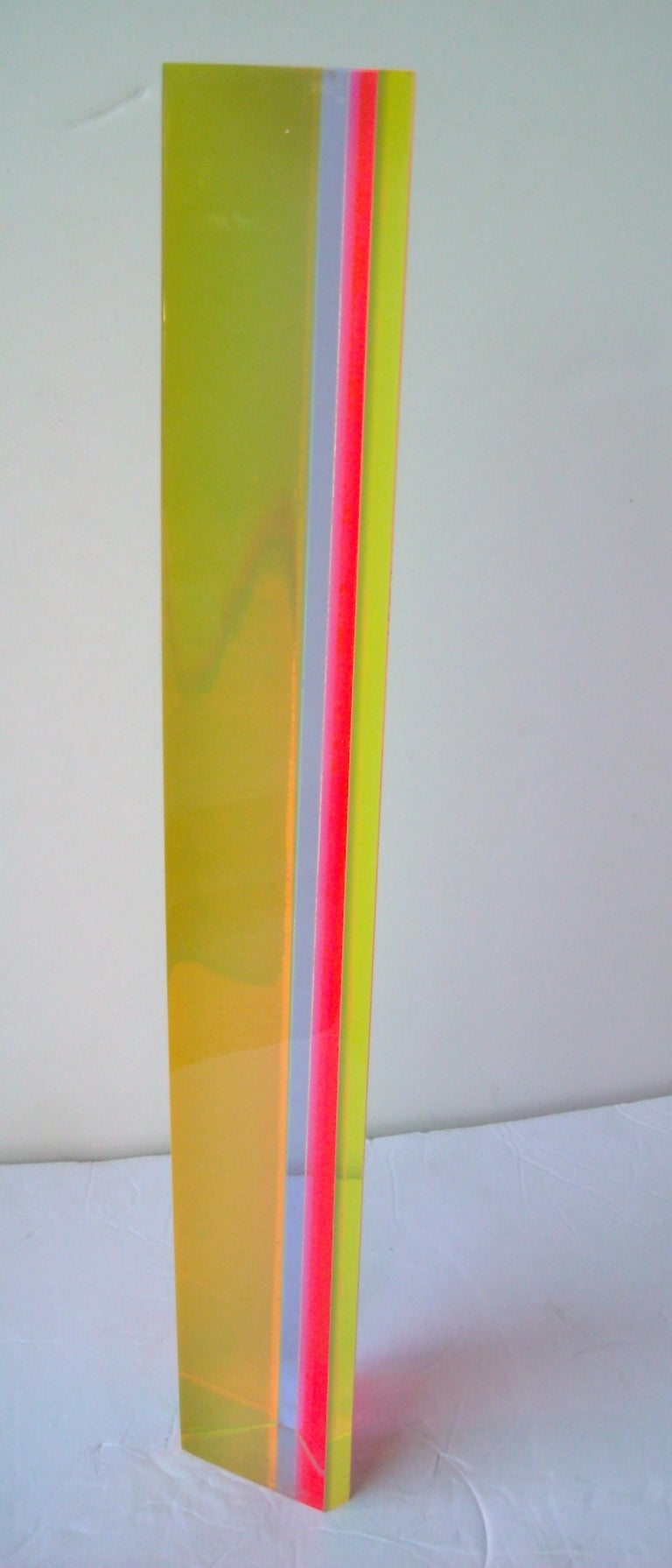 Post-Modern Velizar Mihich, Vasa acrylic hexagonal column sculpture, Signed, Dated For Sale
