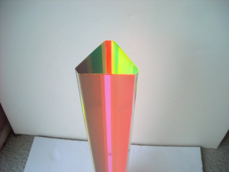 American Velizar Mihich, Vasa acrylic hexagonal column sculpture, Signed, Dated For Sale