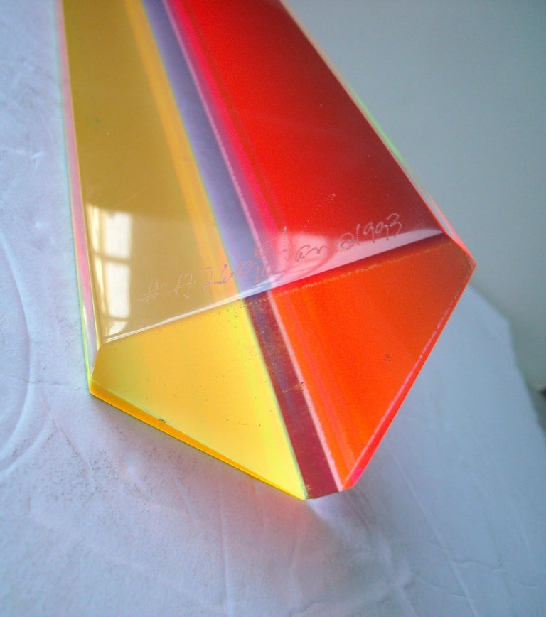 Velizar Mihich, Vasa acrylic hexagonal column sculpture, Signed, Dated In Excellent Condition For Sale In Los Angeles, CA