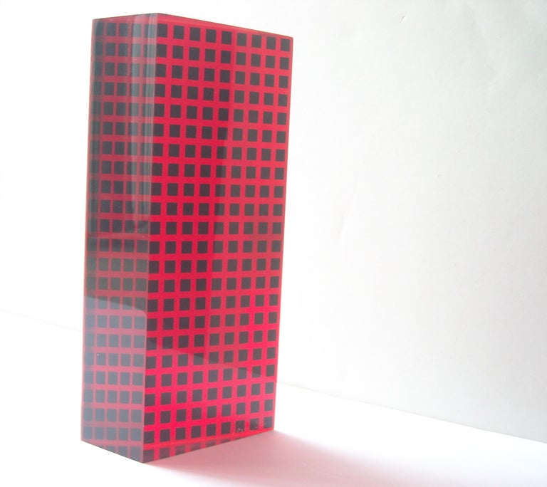 Nice geometric/abstract Vasa acrylic sculpture, signed and dated as shown.