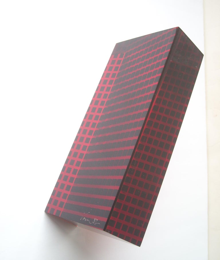 American Velizar Mihich Vasa Acrylic Sculpture Column, Signed, Dated 1982 For Sale