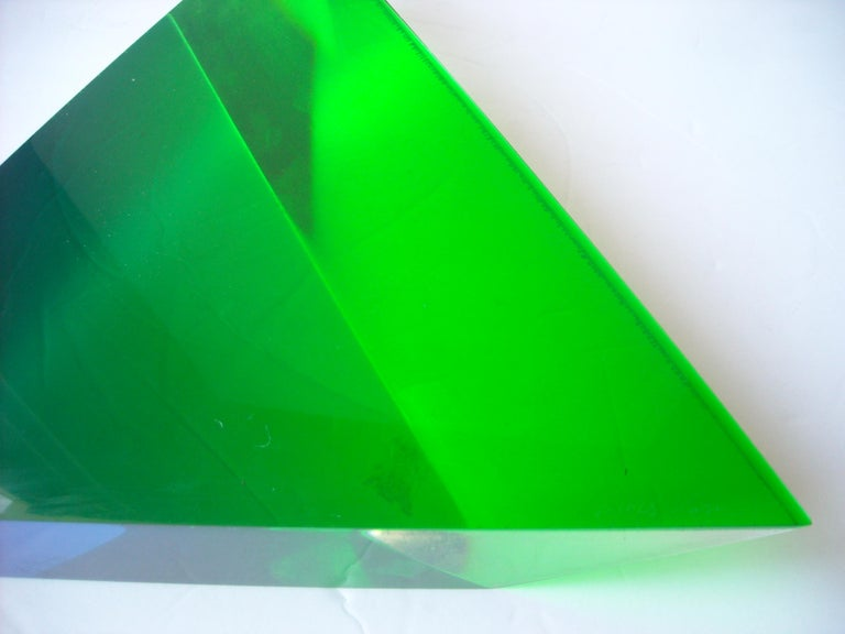 Modern Velizar Mihich, Vasa Acrylic Decorative Triangle, Sculpture, Signed, Date For Sale